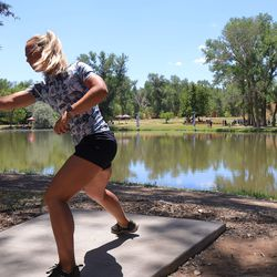 Kristin Tattar competes during the Professional Disc Golf World Championships at Fort Buenaventura Park in Ogden on Saturday, June 26, 2021.
