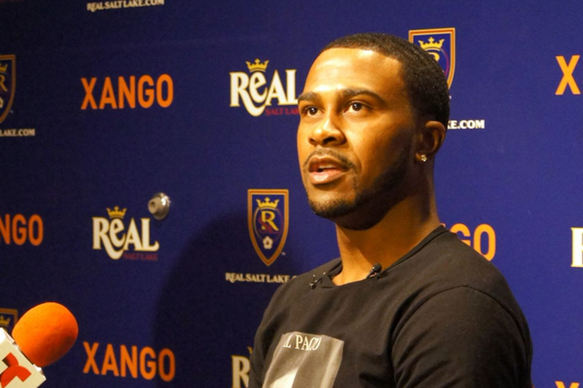 Robbie Findley talks to reporters at Real Salt Lake's Media Day.