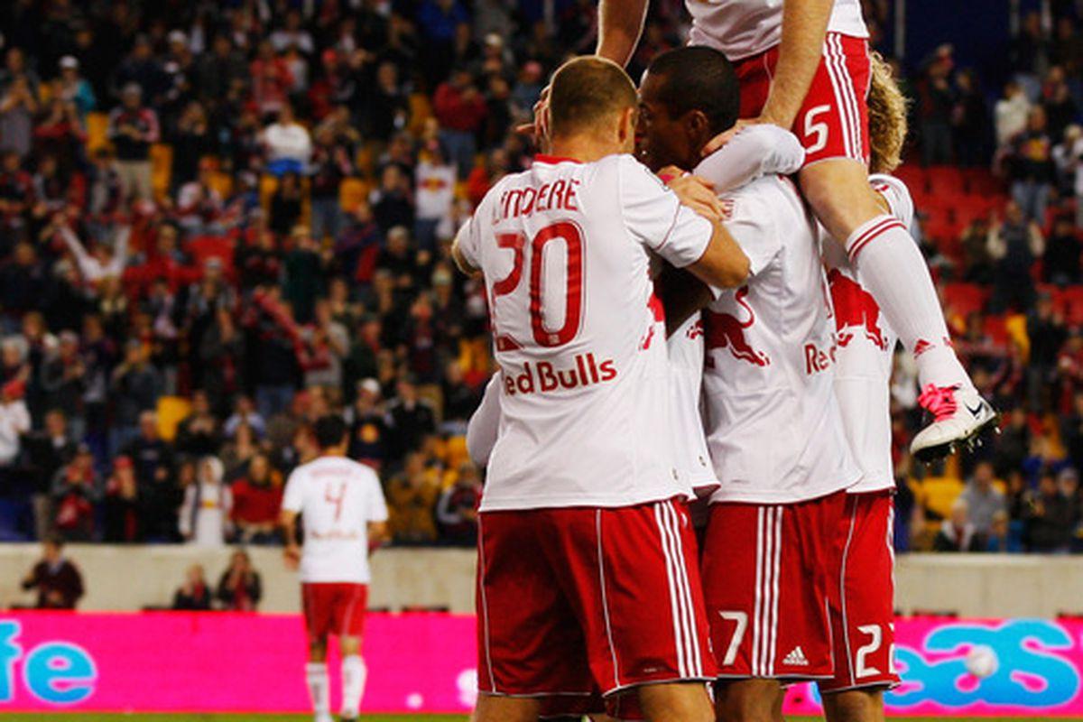 Red Bulls celebrate Dane Richards' crucial goal