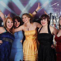Ashley Wright, Liza Wright, Andi Larsen, Jane-Ellen Keeble, and Kaitlyn Brokop at a homeschool prom in Indiana in 2012.