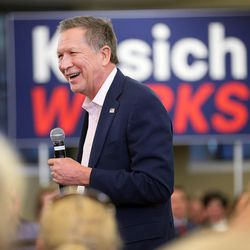 Ohio Gov. John Kasich speaks at a Town Hall meeting in the Guest House at the University of Utah Friday, March 18, 2016.