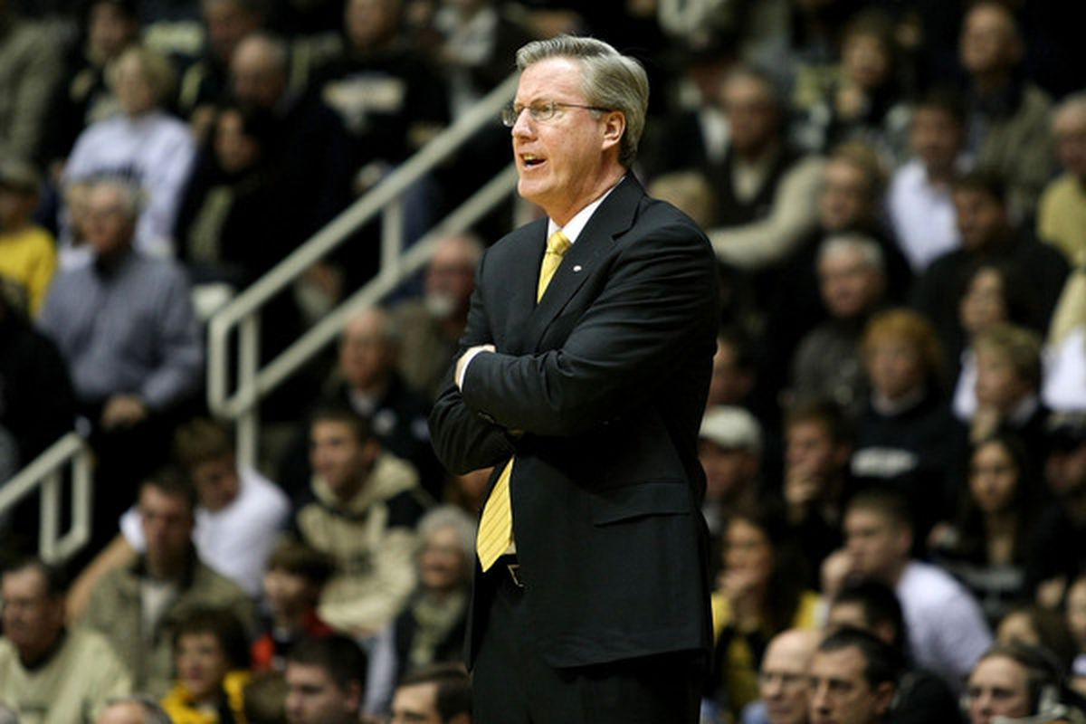 WEST LAFAYETTE IN - JANUARY 09:  Head coach Fran McCaffery of the Iowa Hawkeyes coaches against the Purdue Boilermakers at Mackey Arena on January 9 2011 in West Lafayette Indiana.  (Photo by Chris Chambers/Getty Images)