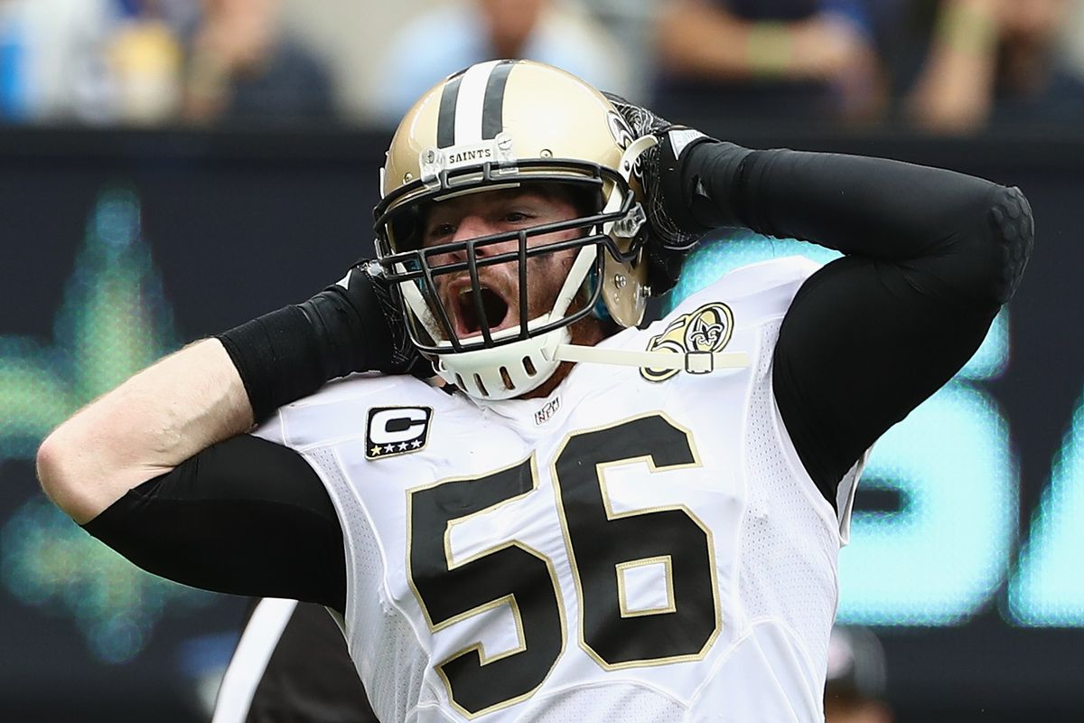 EAST RUTHERFORD, NJ - SEPTEMBER 18:  Michael Mauti #56 of the New  Orleans Saints reacts making a tackle for loss of yardage  against the New York Giants during the first half  at MetLife Stadium.