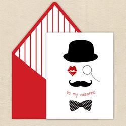 Pixie - Mustache Kiss Valentine Card ($4)