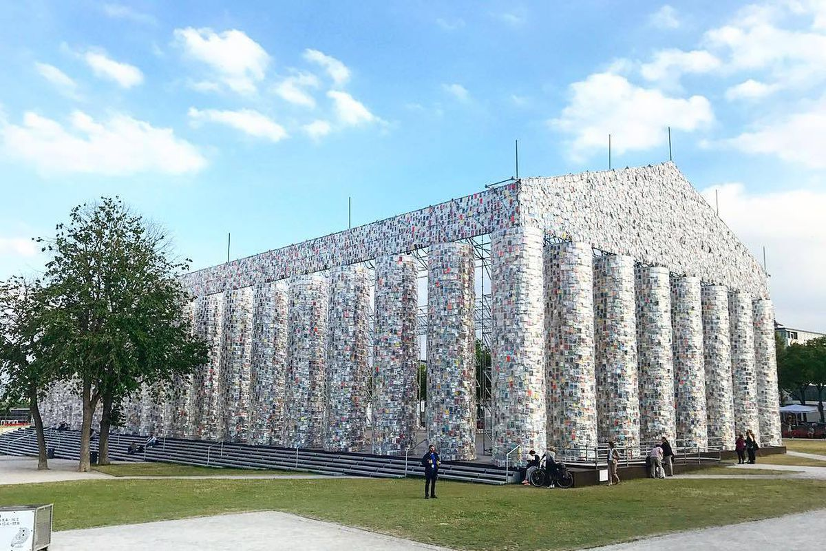 Parthenon replica built from banned books