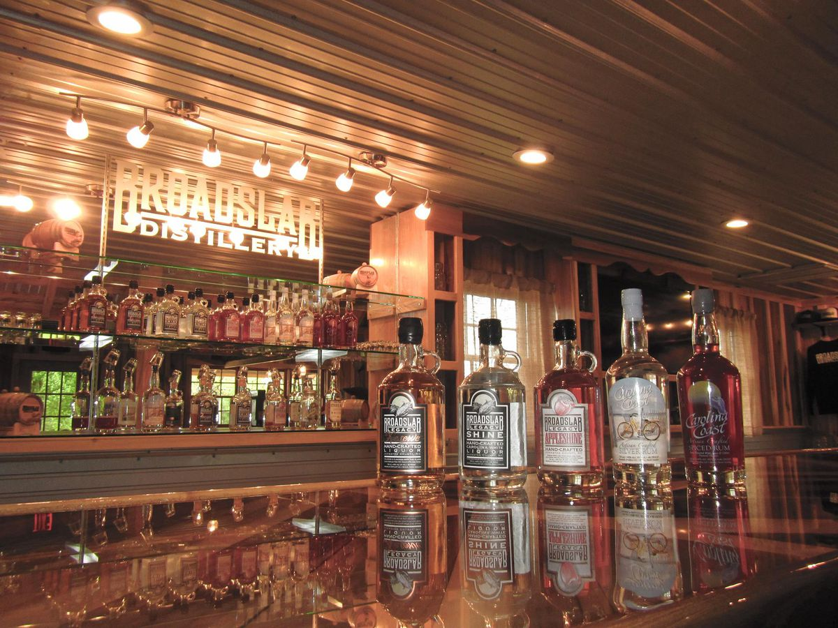 Bottles on a bar