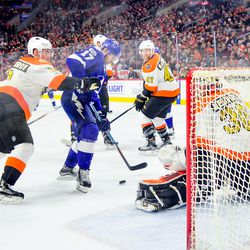 Alex Killorn right before he scores off his own rebound during the second period.