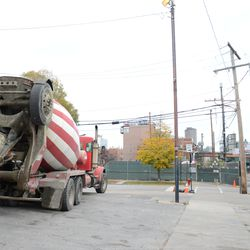 12:16 p.m. Concrete truck waiting in the parking lot, at Waveland and Clark -