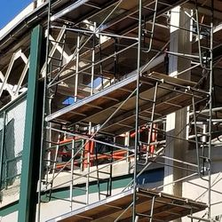 Closer view of scaffolding in previous photo