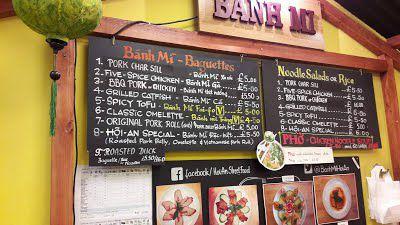 The blackboard menu at Bánh Mì Hội-An in Dalston