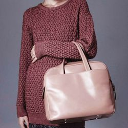 Cedric Charlier rose crew neck sweater and Martin Margiela nude leather bag