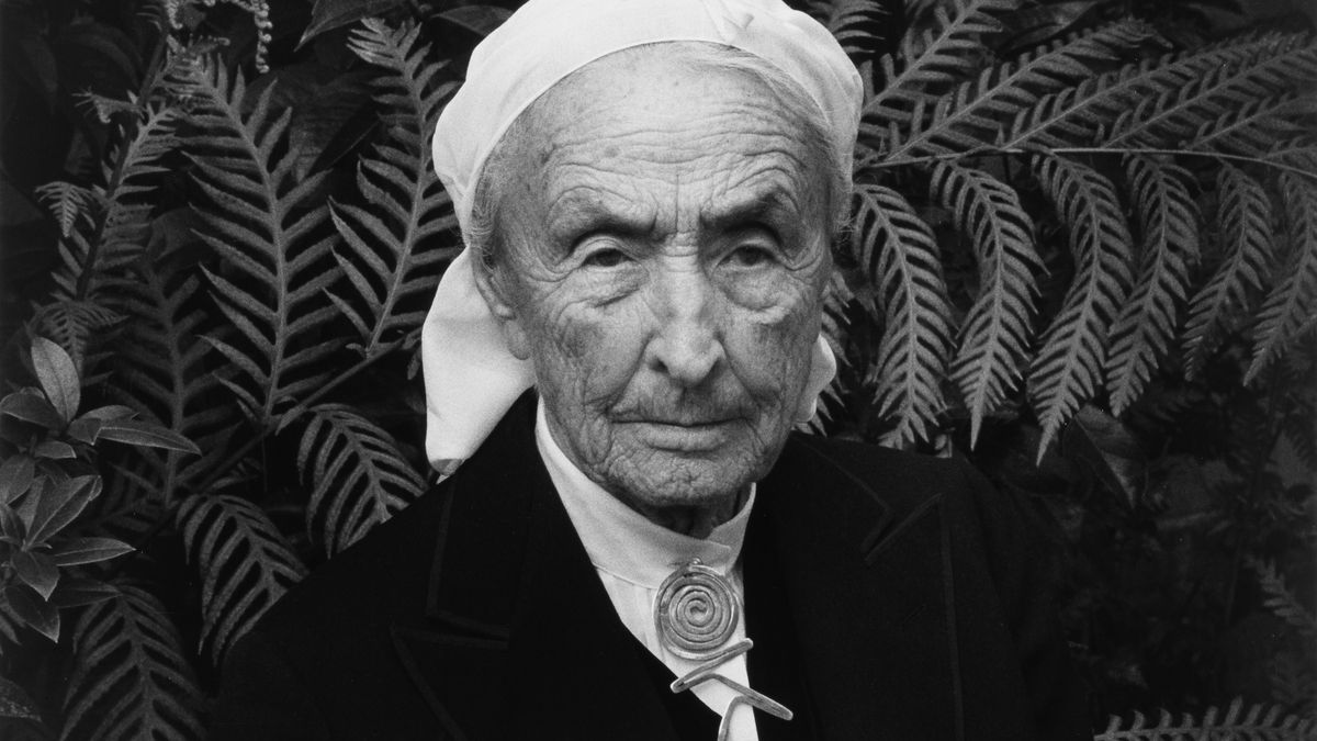 O'Keeffe, in her older years, wears a white scarf on her head, a white blouse with the Calder pin at the neck, and a black jacket.