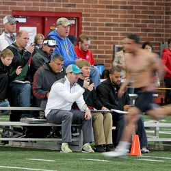 NFL hopefuls do drills for pro scouts during the pro football day at the University of Utah Wednesday, March 19, 2014, in Salt Lake City.