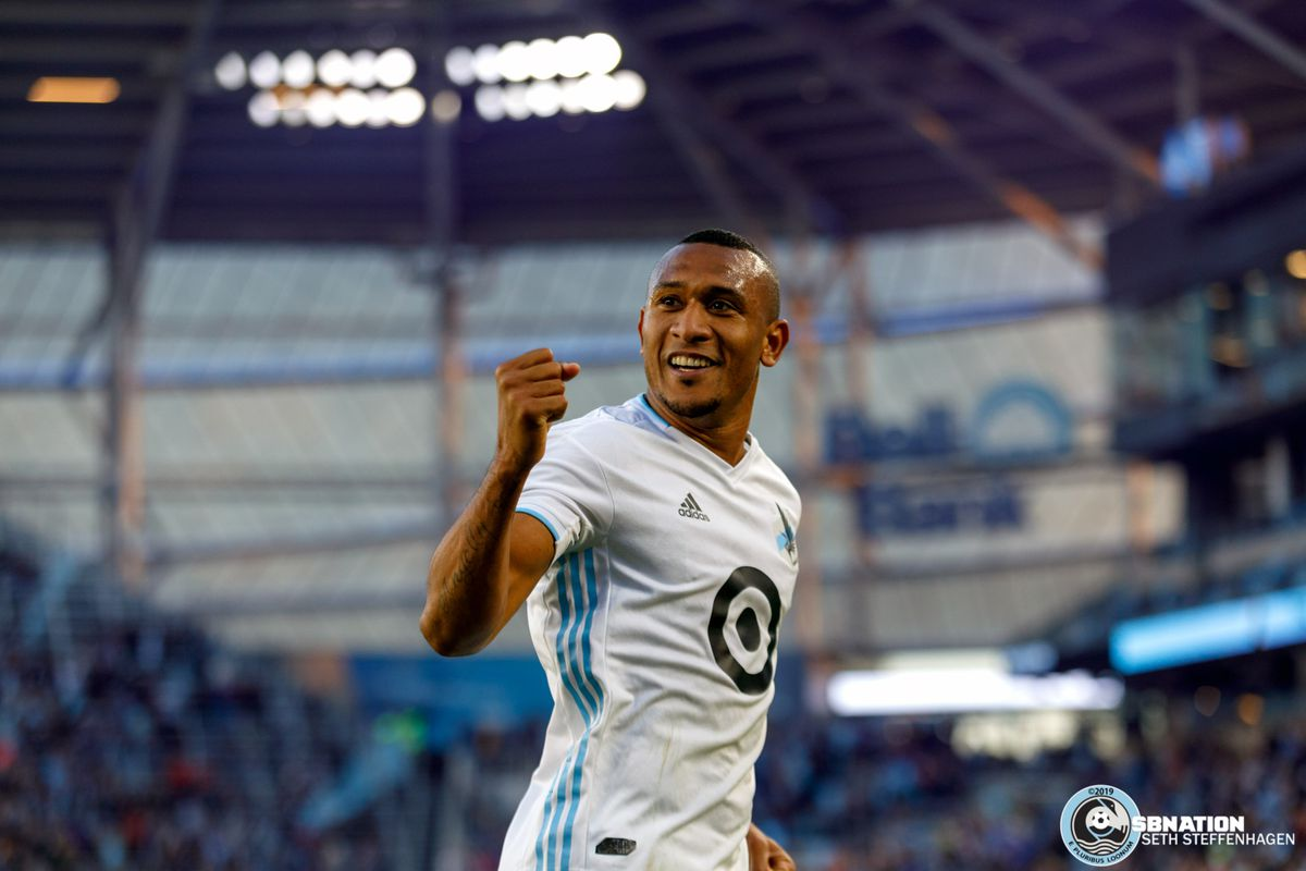 June 12, 2019 - Saint Paul, Minnesota, United States - Minnesota United forward Angelo Rodriguez (9) celebrates a goal which was later ruled out during the US Open Cup match between Minnesota United and Sporting KC at Allianz Field.