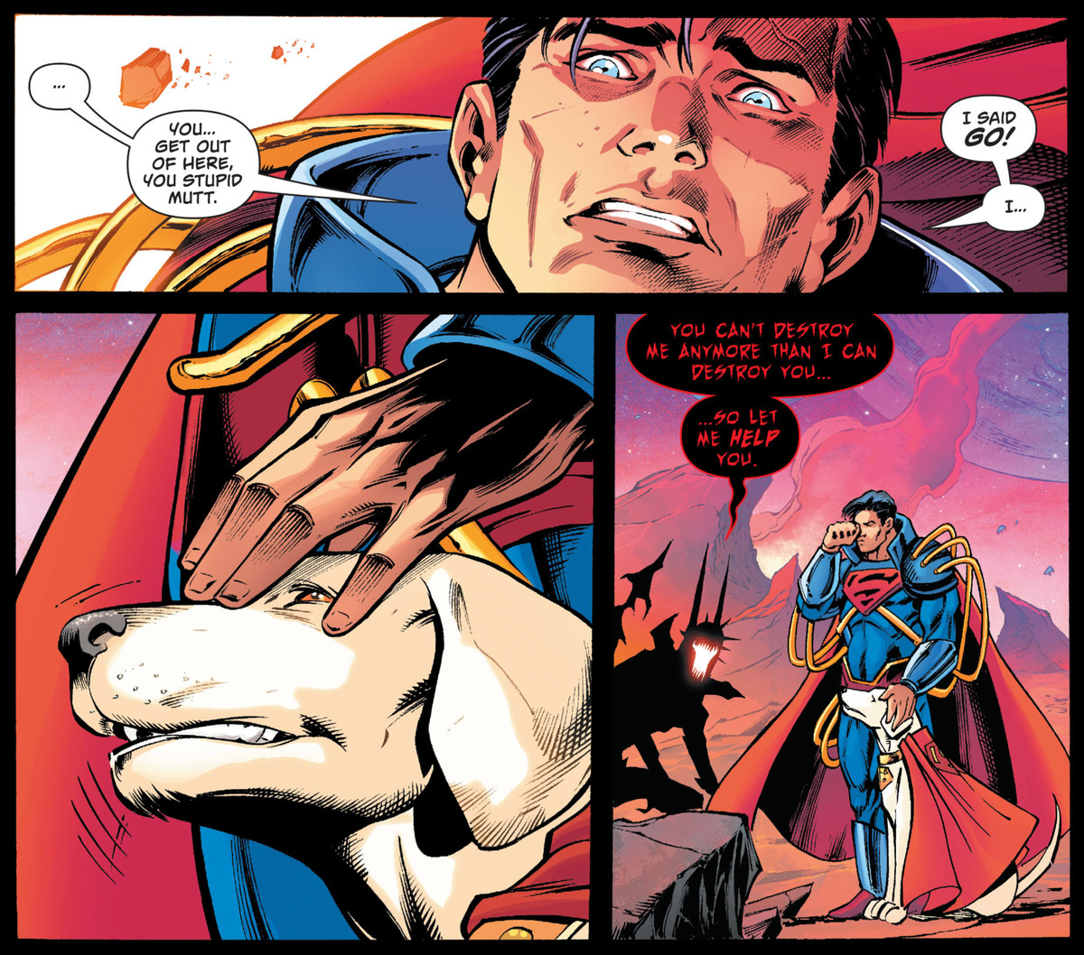 """""""Get out of here you stupid mutt,"""" Superboy Prime begs Krypto the Superdog as he stands loyally by him, in Dark Nights: Death Metal The Secret Origin #1, DC Comics (2020)."""