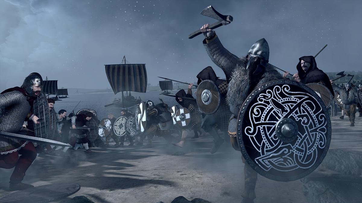Total War Saga: Thrones of Britannia - warrior charging with ax and shield