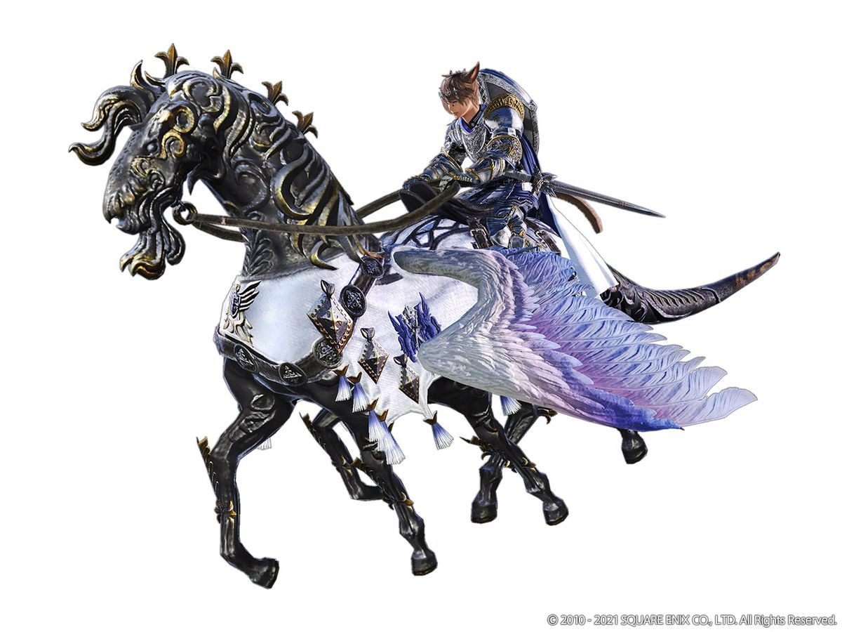 The Arion mount, which looks like a large steel horse with wings