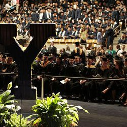 Attendees await the start of BYU's summer commencement exercises at the Marriott Center in Provo on Thursday.