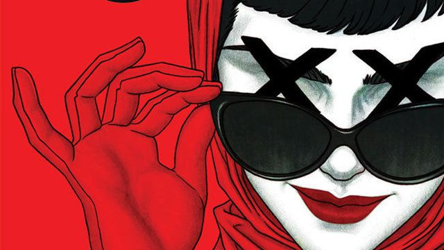 A woman in a fashionable red scarf and gloves pulls down her dark sunglasses, revealing there are just two black Xs where her eyes should be, in a variant cover for The Department of Truth #1, Image Comics (2020).