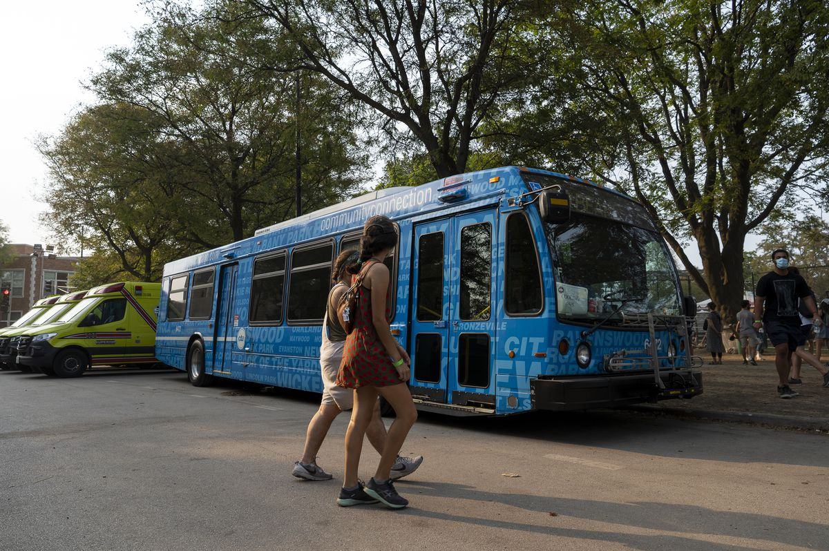 A CTA cooling bus sits parked at Pitchfork music festival grounds at Union Park, Saturday, Sept. 11, 2021.