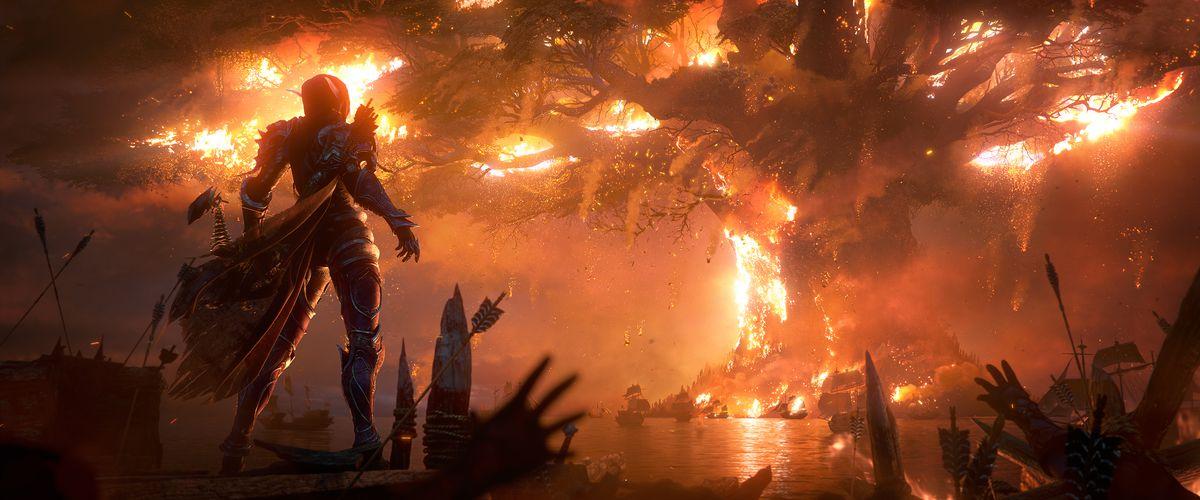 Sylvanas Windrunner watches the Burning of Teldrassil in the Old Soldier cinematic.
