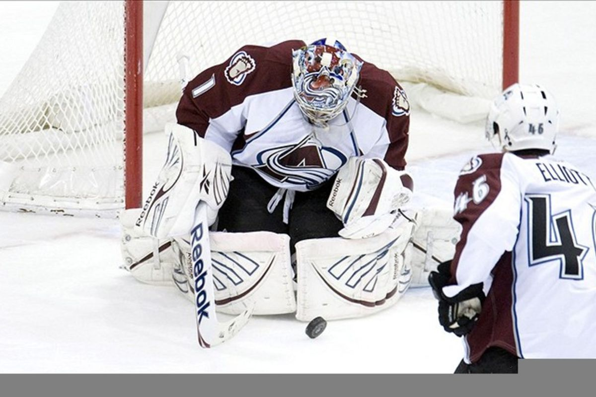 MAR 4, 2012; St. Paul, MN, USA;  Colorado Avalanche goalie Semyon Varlamov (1) makes a save in the first period against the Minnesota Wild at Xcel Energy Center.   Mandatory Credit: Marilyn Indahl-US PRESSWIRE