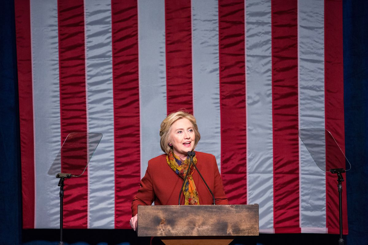 Clinton speaks to black voters at the Schomburg Center for Research in Black Culture in Harlem.