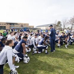 BYU assistant head coach Ed Lamb addresses players following practice March 3, 2016.