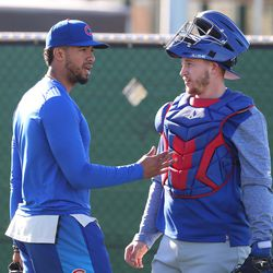 Duane Underwood Jr. and PJ Higgins discuss the bullpen session they just took part in at Riverview Park, the Spring Training home of the Chicago Cubs, in Mesa, AZ.   John Antonoff/For the Sun-Times