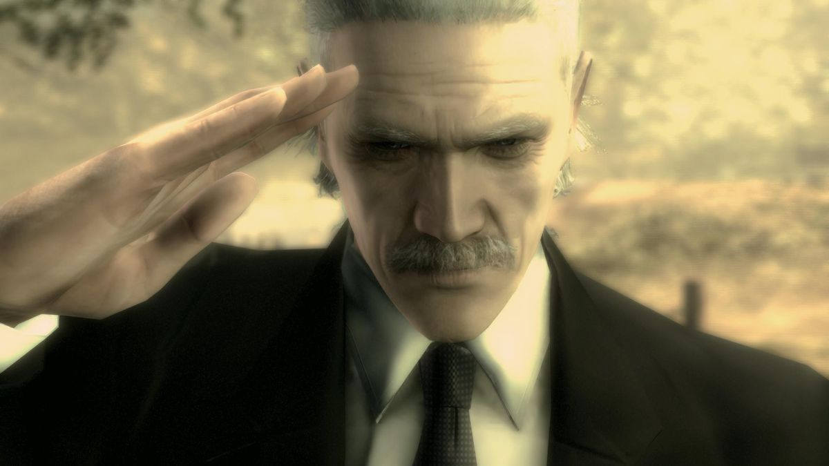 Old Snake salutes a dead friend in Metal Gear Solid 4: Guns of the Patriots