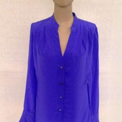 """<a href=""""http://cleveralice.com/products/cindy-johnny-blouse-1?variant=902377477"""">Cindy + Johnny Silk Blouse</a>, $69.00 (retail $159.00)"""