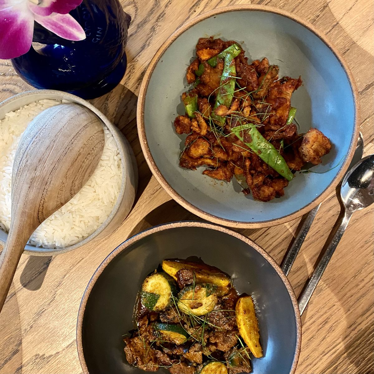 Fried mushrooms in curry paste and stir-fried skirt steak at Nari