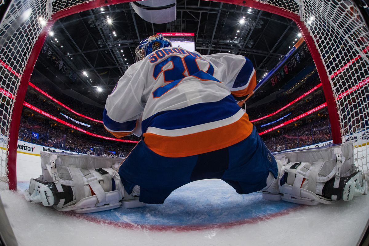 Goalie Ilya Sorokin #30 of the New York Islanders tends net against the Tampa Bay Lightning in Game Five of the Stanley Cup Semifinals of the 2021 Stanley Cup Playoffs at Amalie Arena on June 21, 2021 in Tampa, Florida.