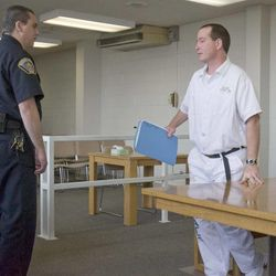 Thomas Noffsinger leaves the hearing room following a board of pardons hearing March 2, 2010.