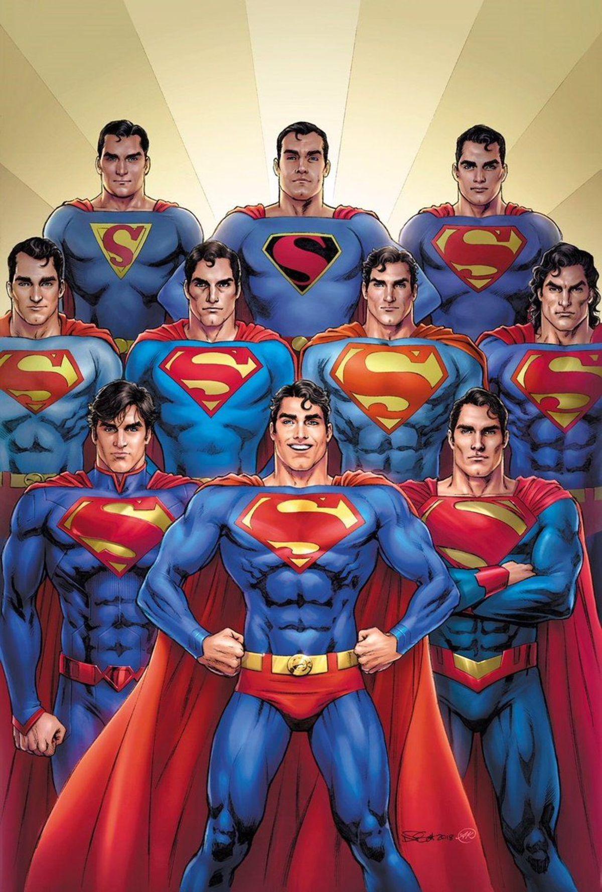 Art of ten Superman from ten different eras and costumes.