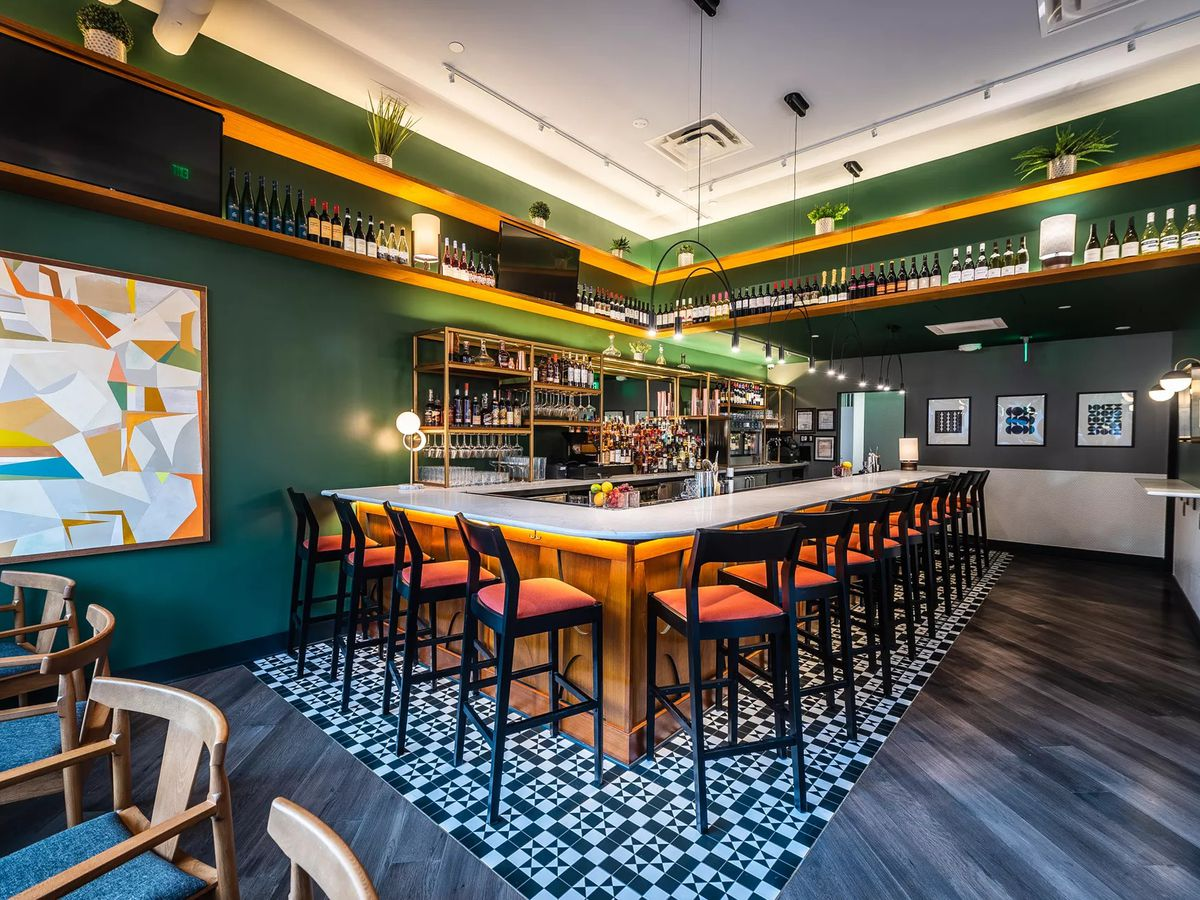 The mid-century modern bar at the Eastern