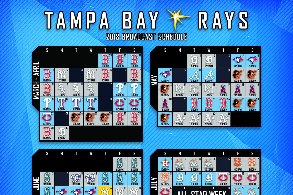 tampa bay rays television schedule for 2018 released - draysbay