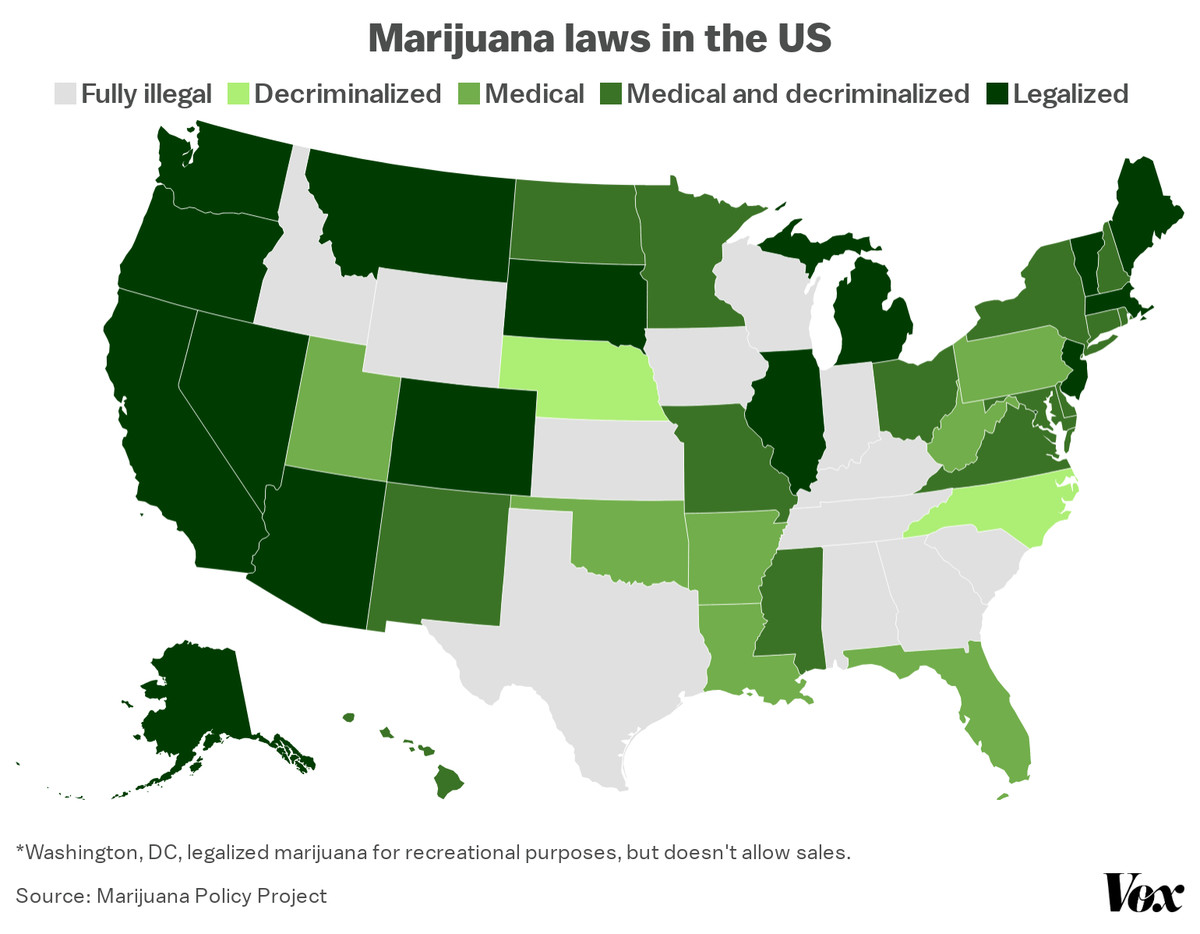A map of marijuana legalization laws in the US.