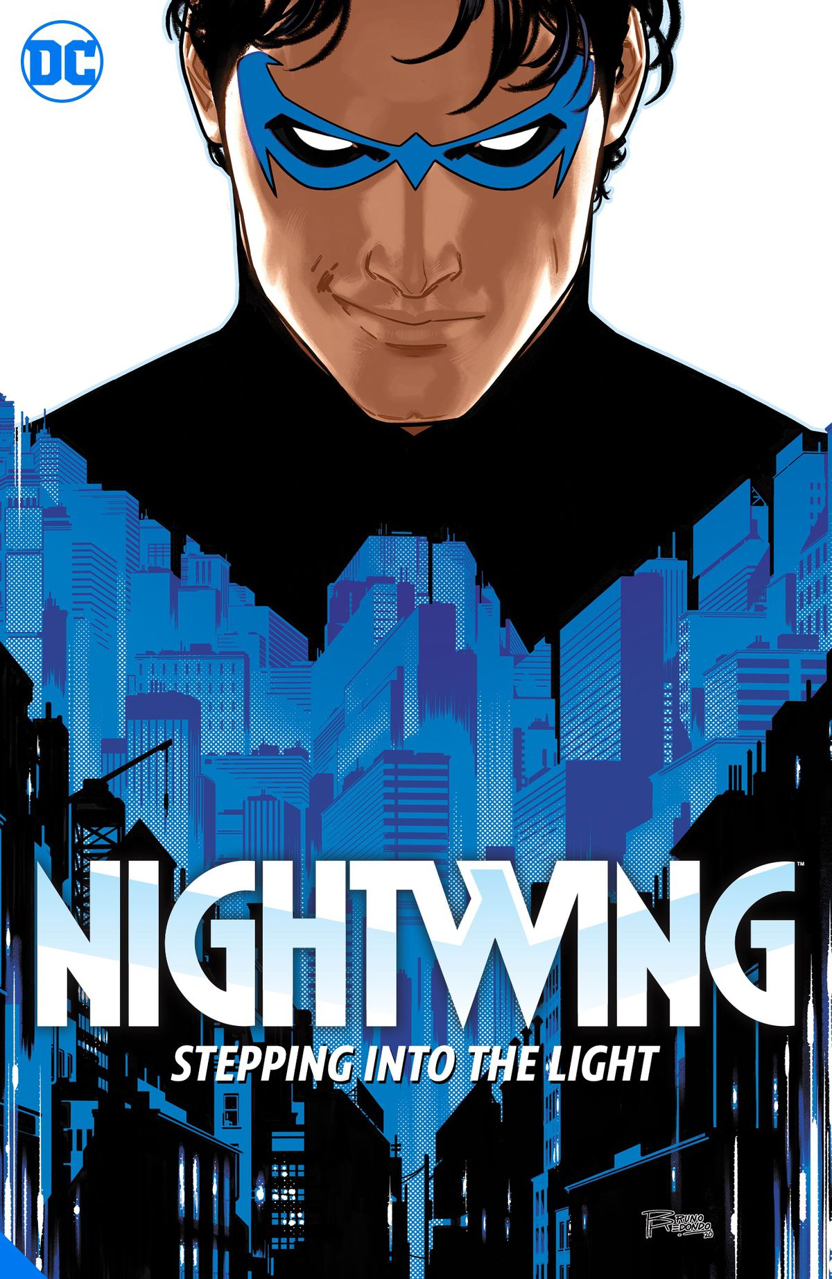 Nightwing smirks — the blue winged shape on his costume is the silhouettes of skyscrapers — on the cover of Nightwing Vol 1: Leaping into the Light (2021).