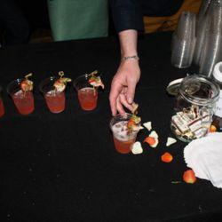 """shrimp cocktails"" at Alembic garnished with raw spot prawns"