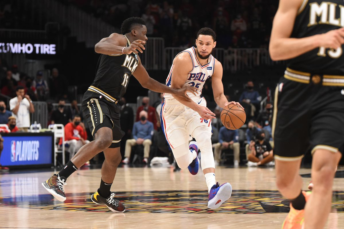 Ben Simmons #25 of the Philadelphia 76ers handles the ball against the Atlanta Hawks during Round 2, Game 6 of the Eastern Conference Playoffs on June 18, 2021 at State Farm Arena in Atlanta, Georgia.