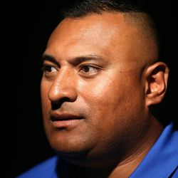 Kalani Sitake, head coach, answers questions during BYU Football Media Day at BYU Broadcasting in Provo on Friday, June 23, 2017.