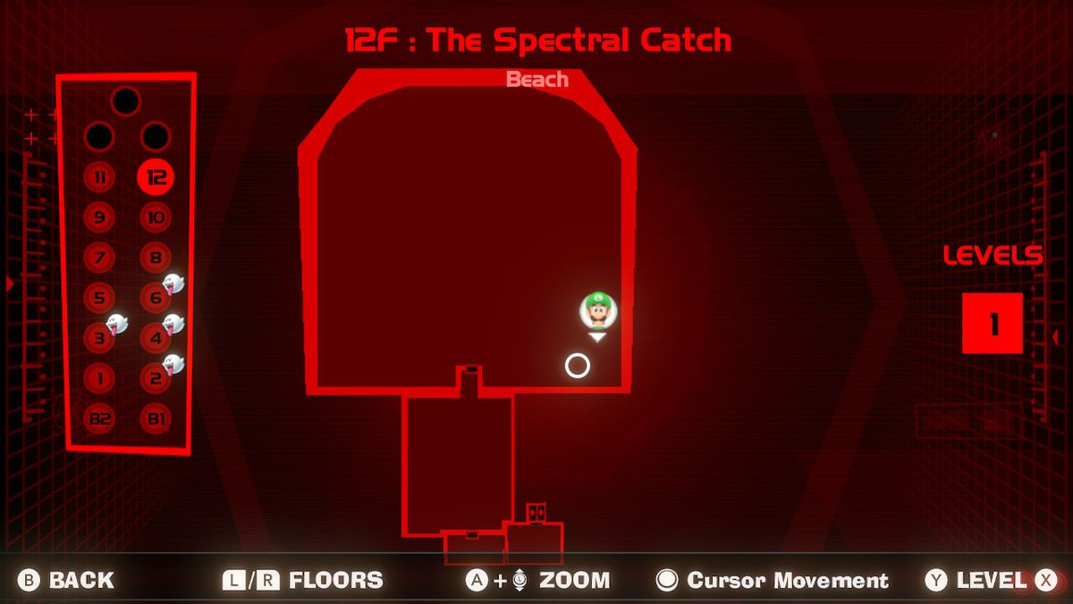 A map of the Beach in 12F Spectral Catch in Luigi's Mansion 3