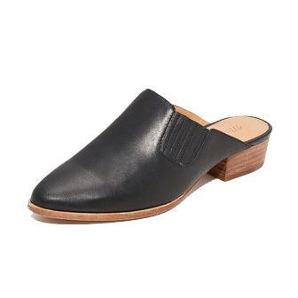 black mules with wooden heel