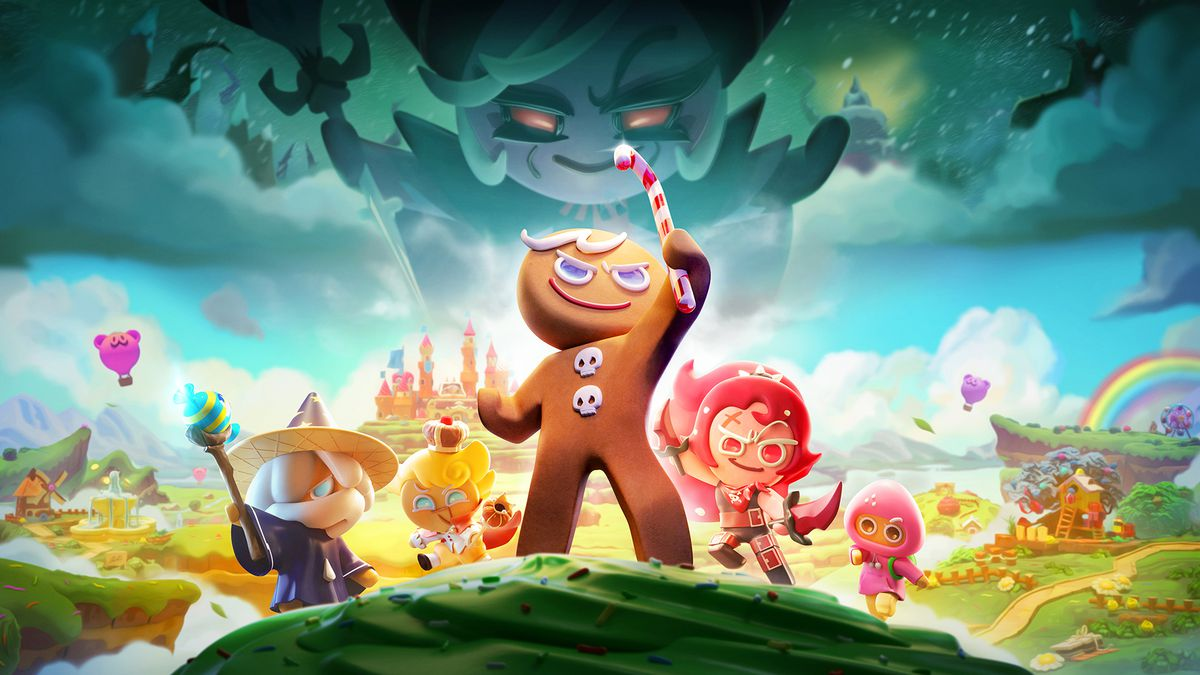 a gingerbread man cookie character heroically holds a candy cane into the sky