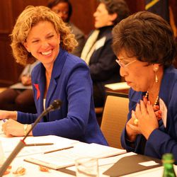 Democratic National Committee Chairwoman Debbie Wasserman Schultz, left, and Vice-Chairwoman Linda Chavez-Thompson chat during the DNC's Executive Committee meeting at the Montage Deer Valley in Park City on Saturday, Dec. 1, 2012.