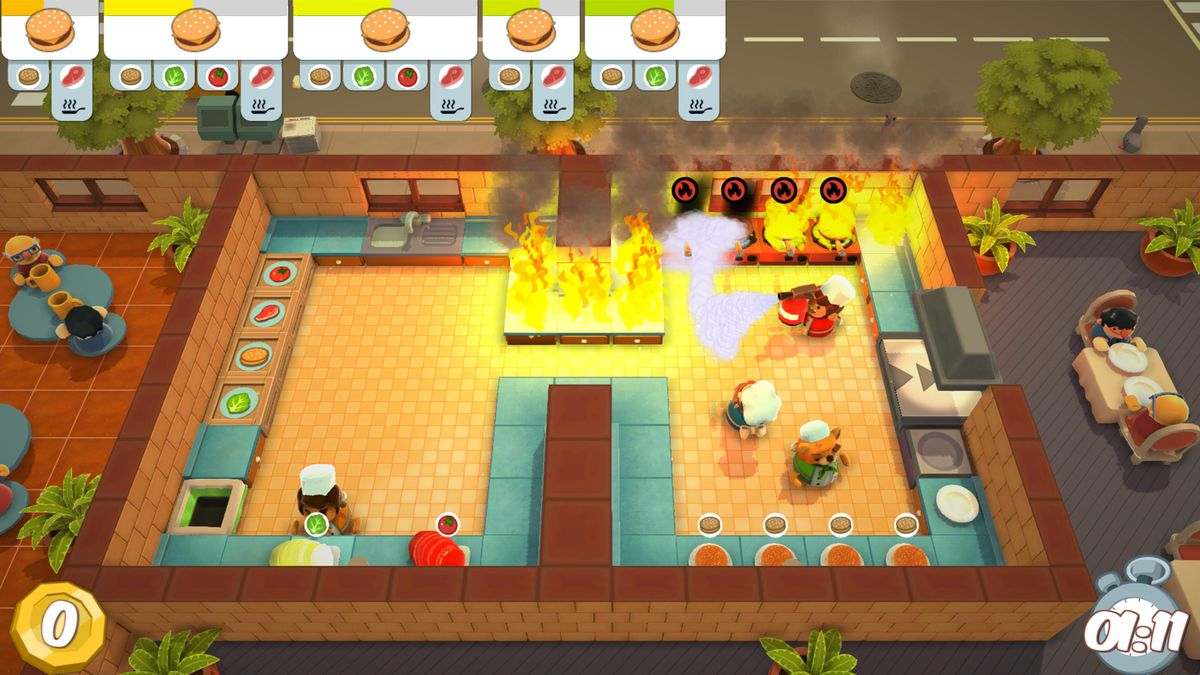 Overcooked - kitchen on fire