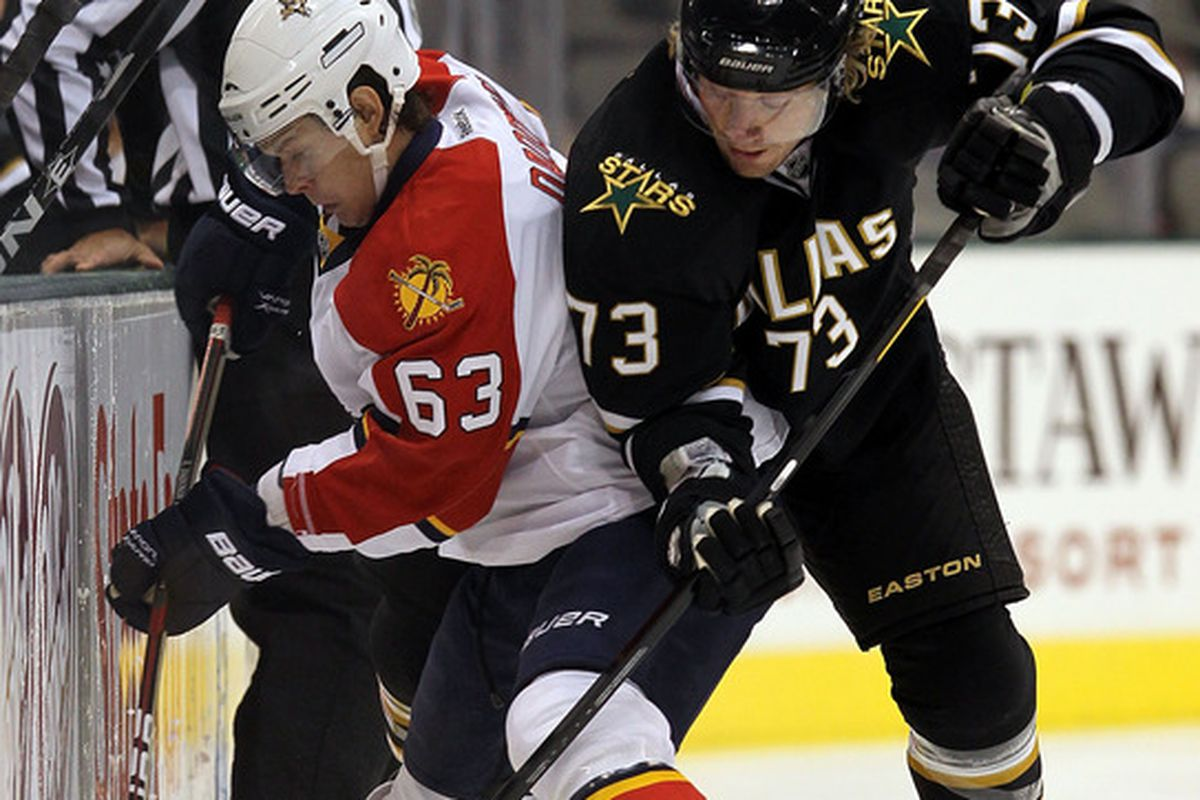 DALLAS, TX - SEPTEMBER 29:  Evgeni Dadonov #63 of the Florida Panthers skates the puck against Michael Ryder #73 of the Dallas Stars at American Airlines Center on September 29, 2011 in Dallas, Texas.  (Photo by Ronald Martinez/Getty Images)