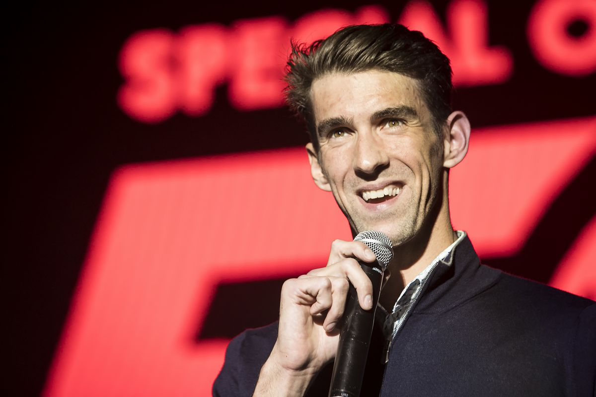 Michael Phelps speaks at the Special Olympics 50th Anniversary Concert at Northerly Island in 2018.