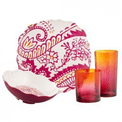 Dinner Plate in Coral $3.99, Cereal Bowl in Coral $3.49, Small Tumbler in Pink/Orange $3.49, Large Tumbler in Pink/Orange $3.99